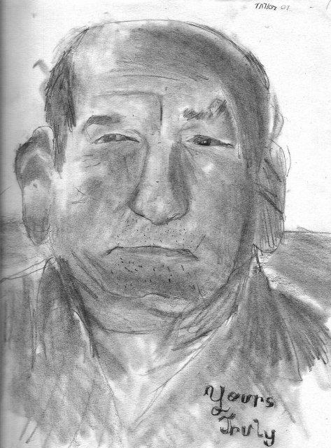Chrsitan draws Grandpa Lauro